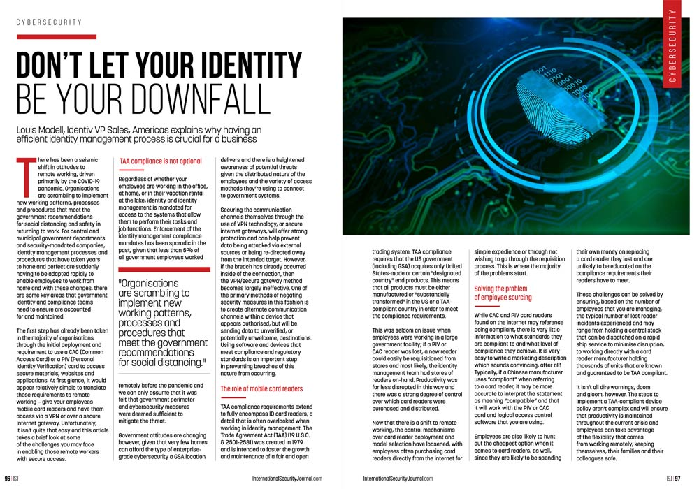 Screenshot of article spread — International Security Journal: Don't Let Your Identity Be Your Downfall