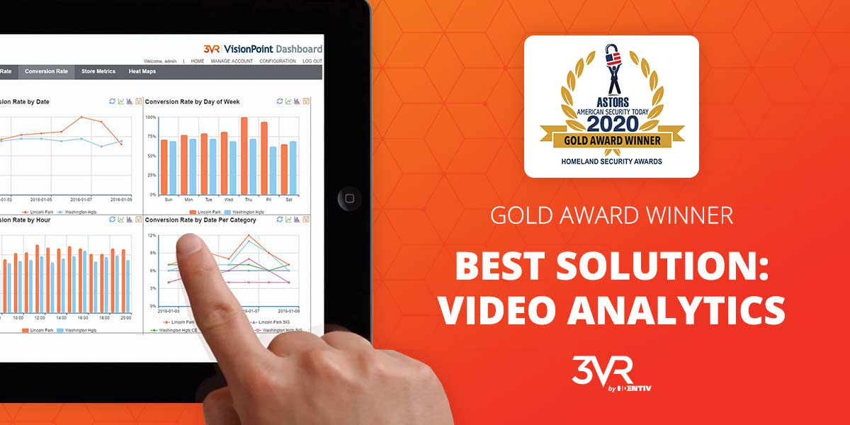3VR video and real-time security platform has been selected as a gold winner for Best Video Analytics Solution in the 2020 ASTORS Homeland Security Awards