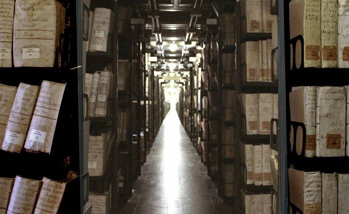 Rows of bookshelves in the Vatican Secret Archive