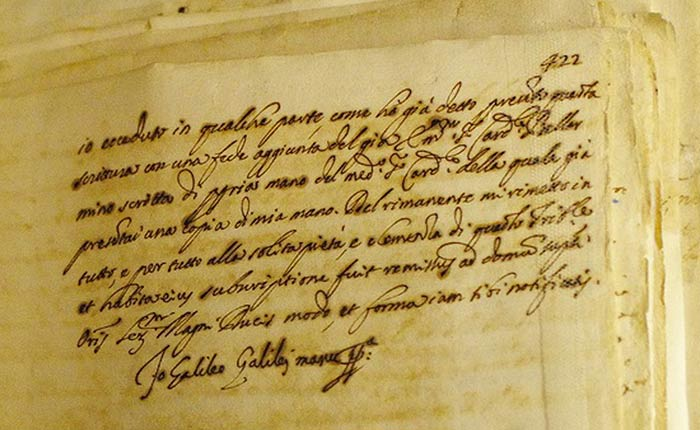 One of the original documents from Galileo's 1633 trial